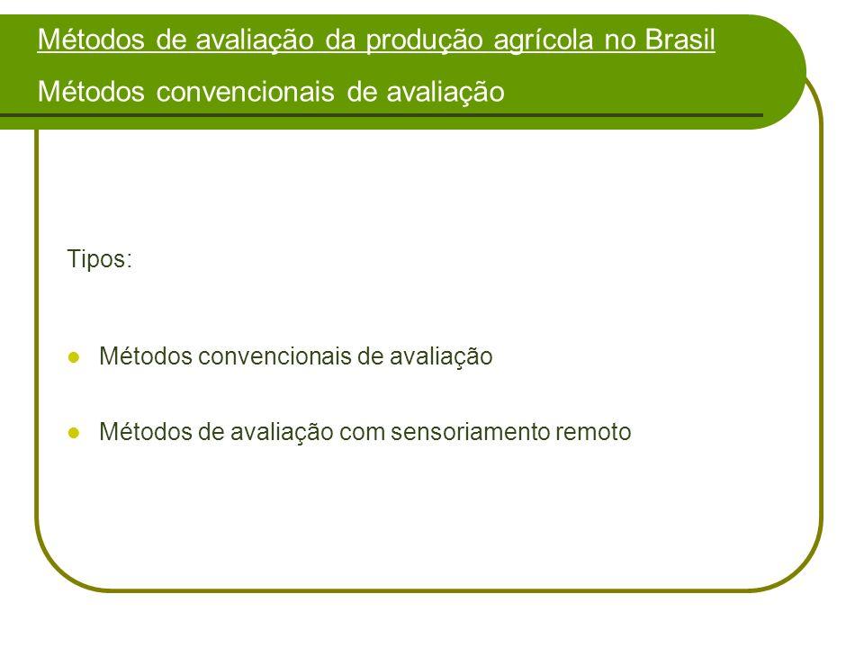 Métodos de avaliação da produção agrícola no Brasil Métodos convencionais de avaliação Tipos: Métodos convencionais de avaliação Métodos de avaliação com sensoriamento remoto