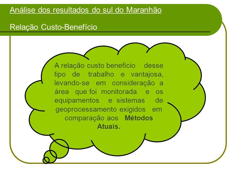 Análise dos resultados do sul do Maranhão Relação Custo-Benefício A relação custo benefício desse tipo de trabalho e vantajosa, levando-se em consideração a área que foi monitorada e os equipamentos e sistemas de geoprocessamento exigidos em comparação aos Métodos Atuais.