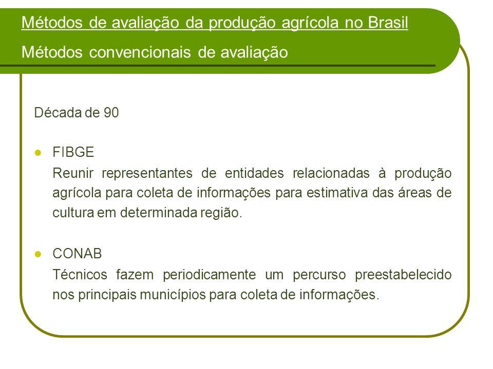 Década de 90 FIBGE Reunir representantes de entidades relacionadas à produção agrícola para coleta de informações para estimativa das áreas de cultura em determinada região.