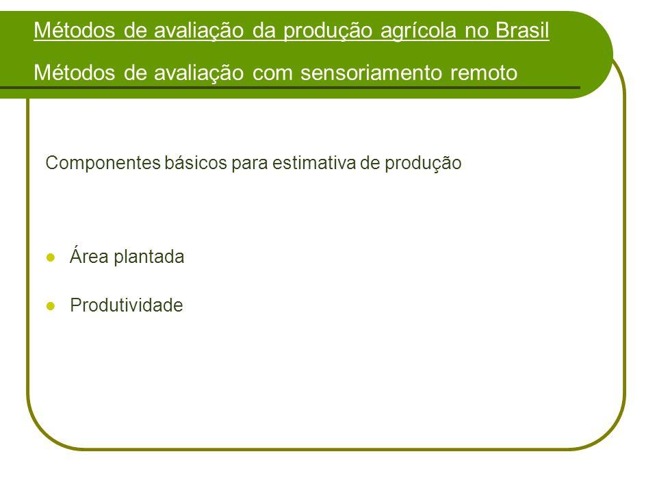 Métodos de avaliação da produção agrícola no Brasil Métodos de avaliação com sensoriamento remoto Componentes básicos para estimativa de produção Área plantada Produtividade