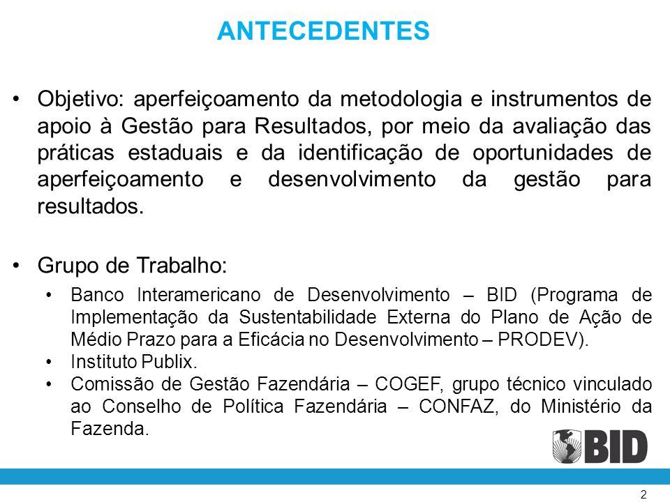 2 ANTECEDENTES Objetivo: aperfeiçoamento da metodologia e instrumentos de apoio à Gestão para Resultados, por meio da avaliação das práticas estaduais e da identificação de oportunidades de aperfeiçoamento e desenvolvimento da gestão para resultados.