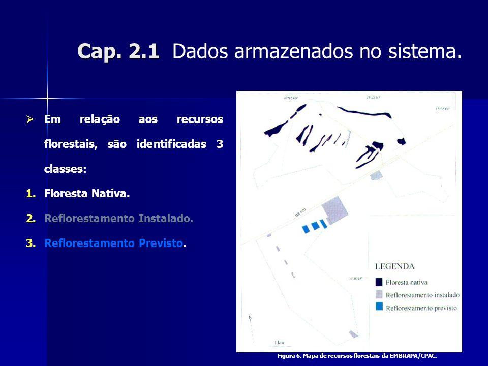 Cap. 2.1 Cap. 2.1 Dados armazenados no sistema. Em relação aos recursos florestais, são identificadas 3 classes: 1.Floresta Nativa. 2.Reflorestamento