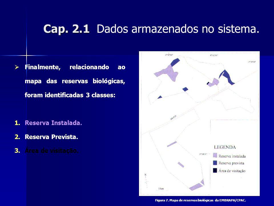 Cap. 2.1 Cap. 2.1 Dados armazenados no sistema. Finalmente, relacionando ao mapa das reservas biológicas, foram identificadas 3 classes: 1.Reserva Ins