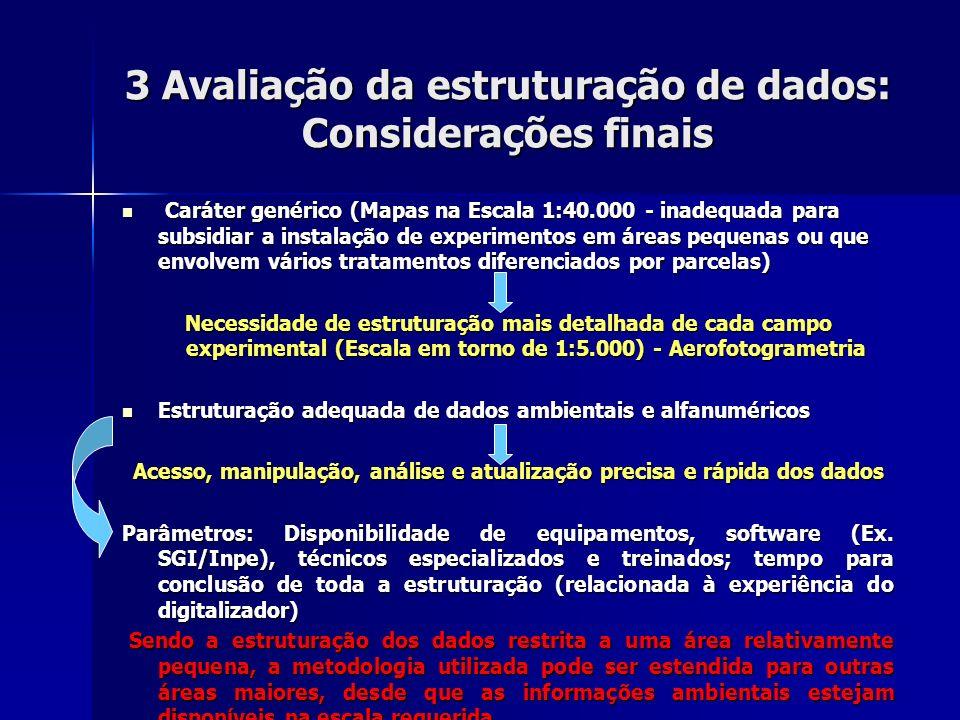 3 Avaliação da estruturação de dados: Considerações finais Caráter genérico (Mapas na Escala 1:40.000 - inadequada para subsidiar a instalação de expe