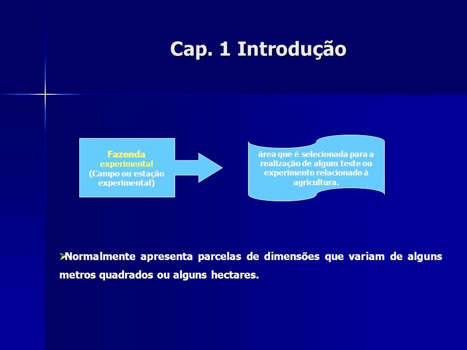 Cap. 1Introdução Cap. 1 Introdução Normalmente apresenta parcelas de dimensões que variam de alguns metros quadrados ou alguns hectares. área que é se