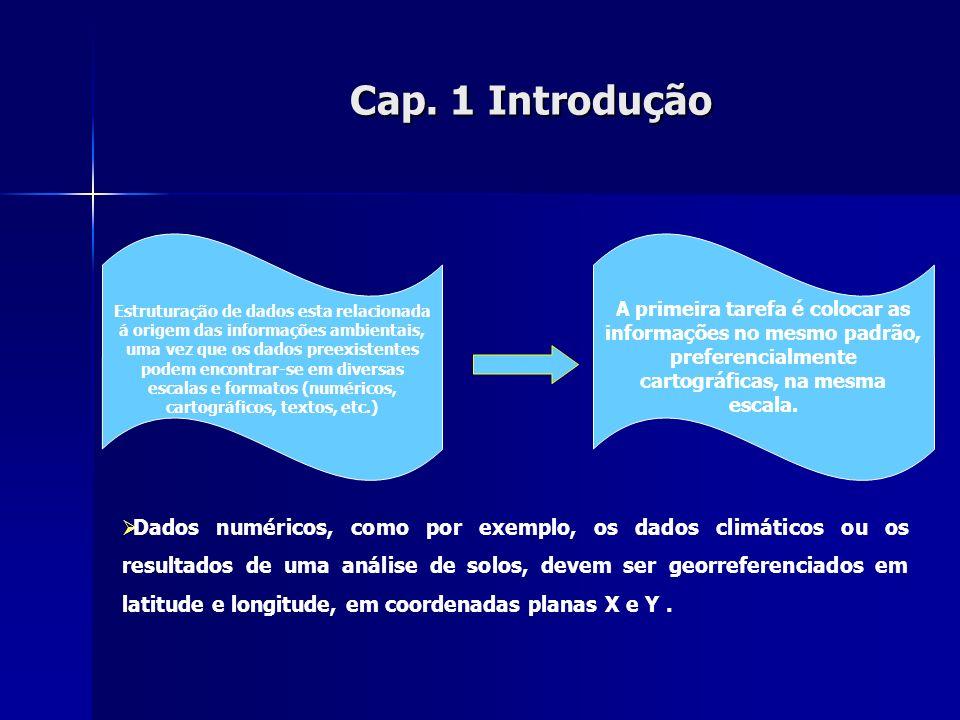 Cap. 1Introdução Cap. 1 Introdução Dados numéricos, como por exemplo, os dados climáticos ou os resultados de uma análise de solos, devem ser georrefe