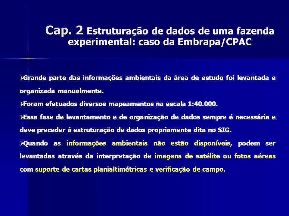 Cap. 2 Cap. 2 Estruturação de dados de uma fazenda experimental: caso da Embrapa/CPAC Grande parte das informações ambientais da área de estudo foi le