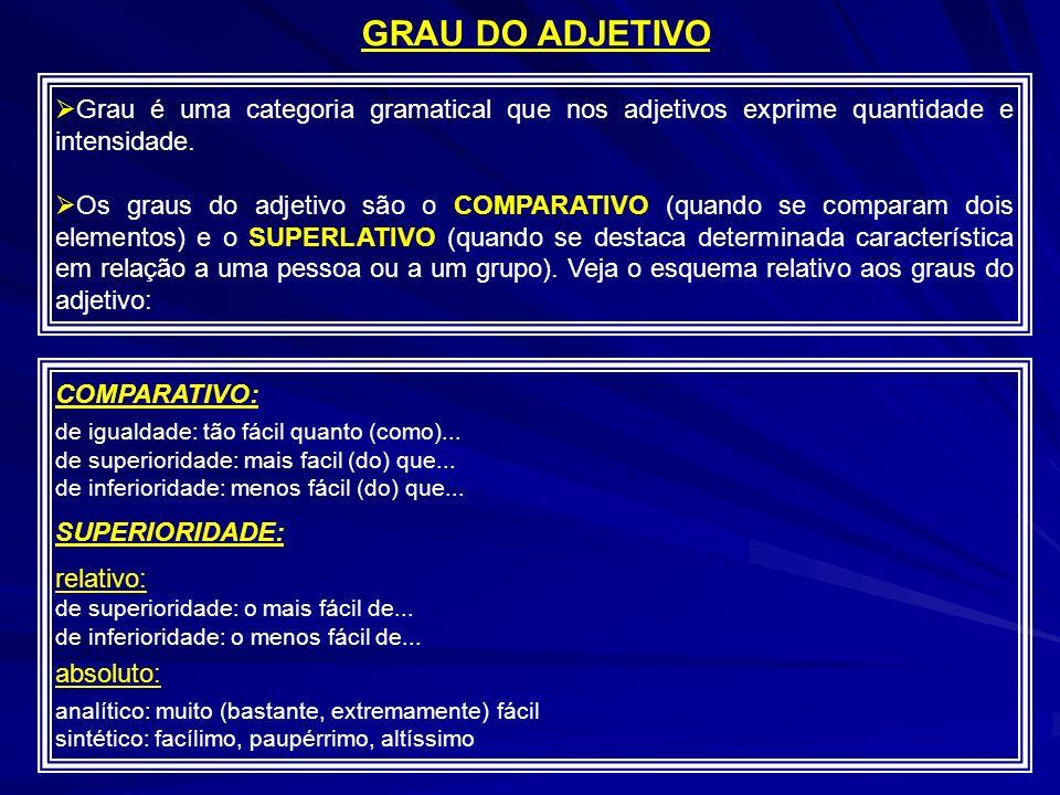 GRAU DO ADJETIVO Grau é uma categoria gramatical que nos adjetivos exprime quantidade e intensidade.