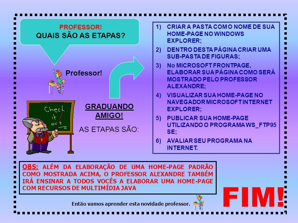 FIM.PROFESSOR. QUAIS SÃO AS ETAPAS. Professor. GRADUANDO AMIGO.