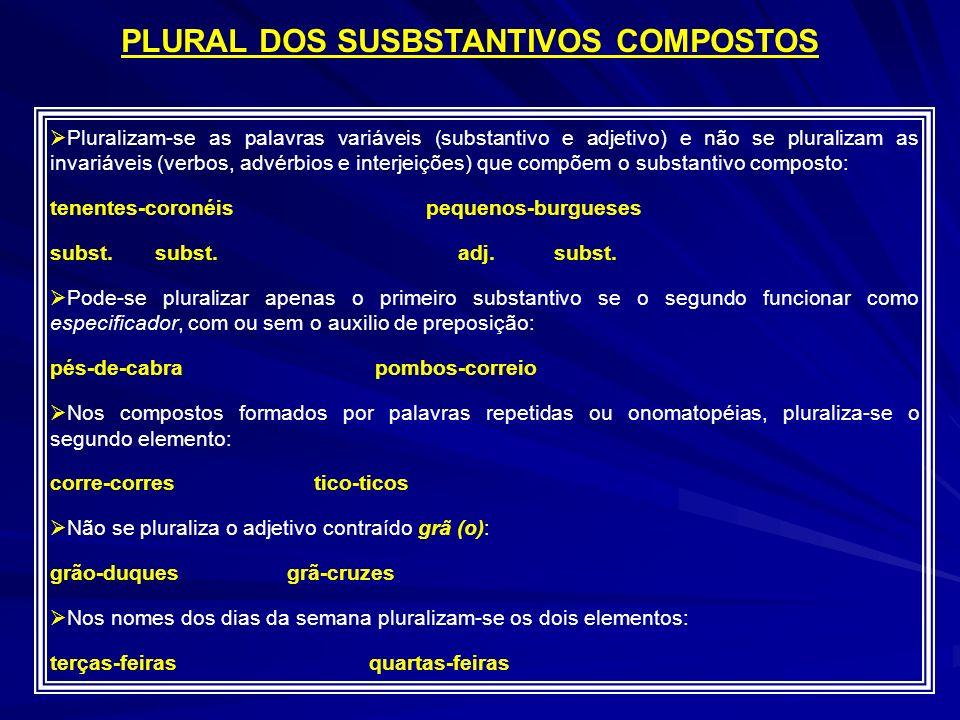 Pluralizam-se as palavras variáveis (substantivo e adjetivo) e não se pluralizam as invariáveis (verbos, advérbios e interjeições) que compõem o substantivo composto: tenentes-coronéis pequenos-burgueses subst.