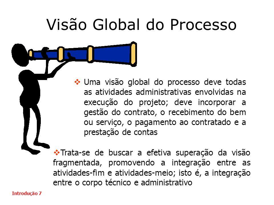 Visão Global do Processo Uma visão global do processo deve todas as atividades administrativas envolvidas na execução do projeto; deve incorporar a ge
