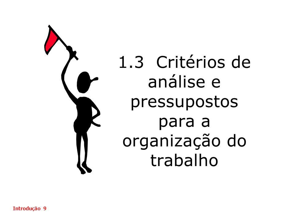 1.3 Critérios de análise e pressupostos para a organização do trabalho Introdução 9