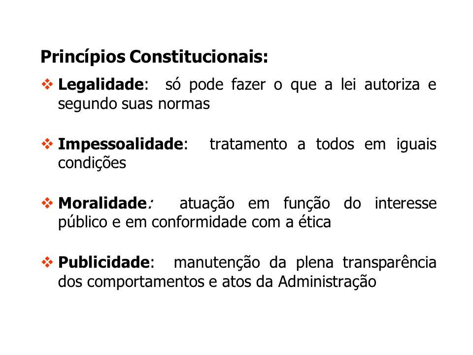 Princípios Constitucionais: Legalidade: só pode fazer o que a lei autoriza e segundo suas normas Impessoalidade: tratamento a todos em iguais condiçõe