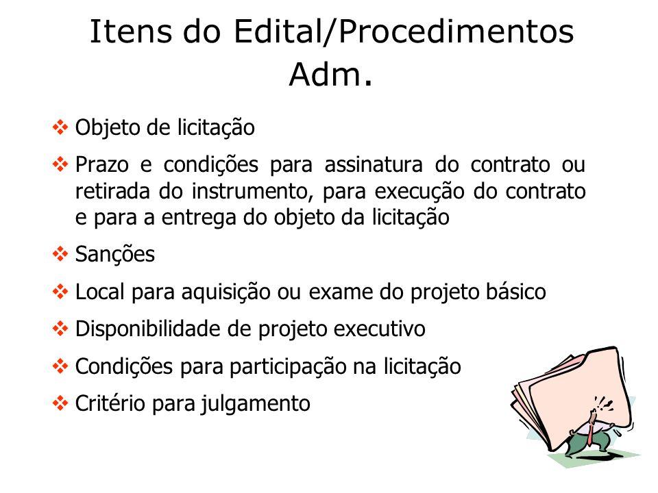 Itens do Edital/Procedimentos Adm. Objeto de licitação Prazo e condições para assinatura do contrato ou retirada do instrumento, para execução do cont