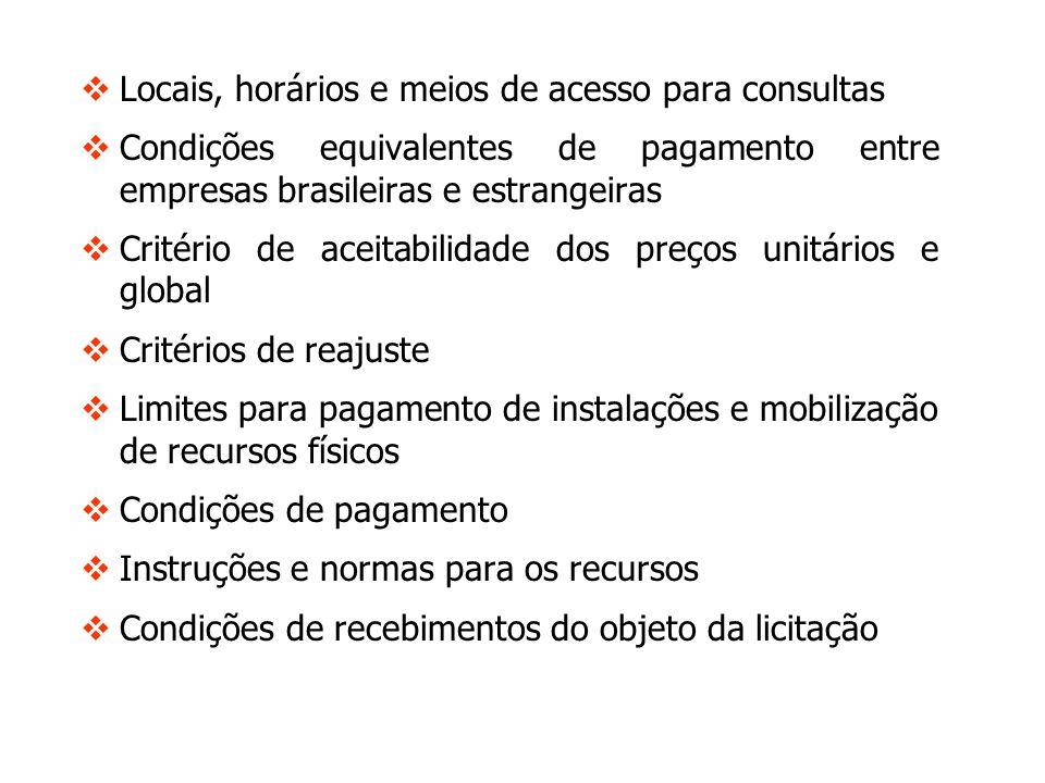 Locais, horários e meios de acesso para consultas Condições equivalentes de pagamento entre empresas brasileiras e estrangeiras Critério de aceitabili