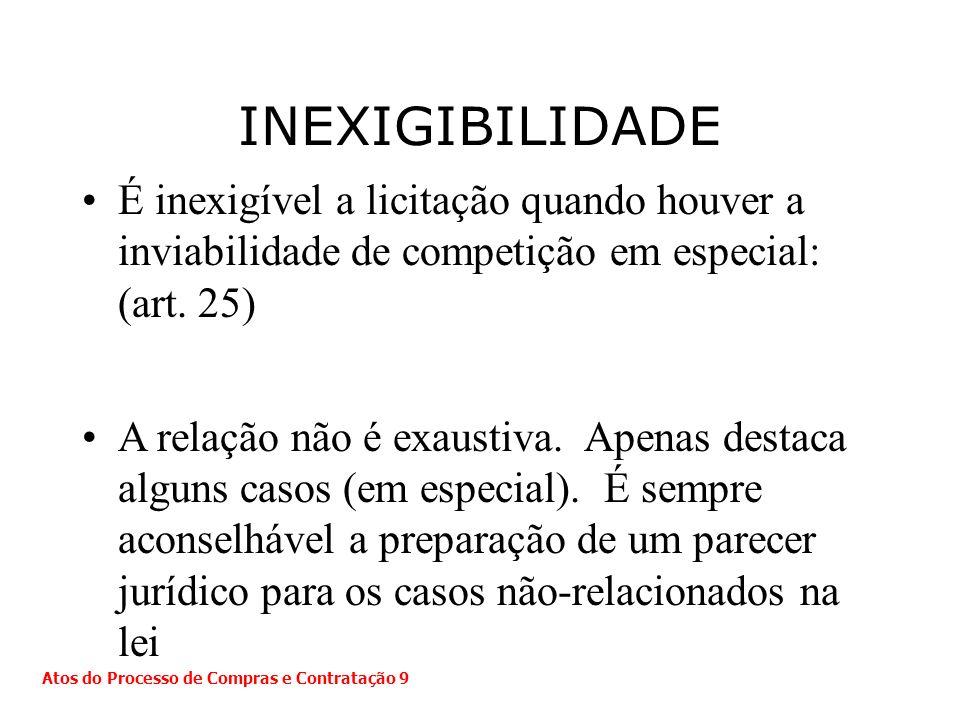 É inexigível a licitação quando houver a inviabilidade de competição em especial: (art. 25) A relação não é exaustiva. Apenas destaca alguns casos (em