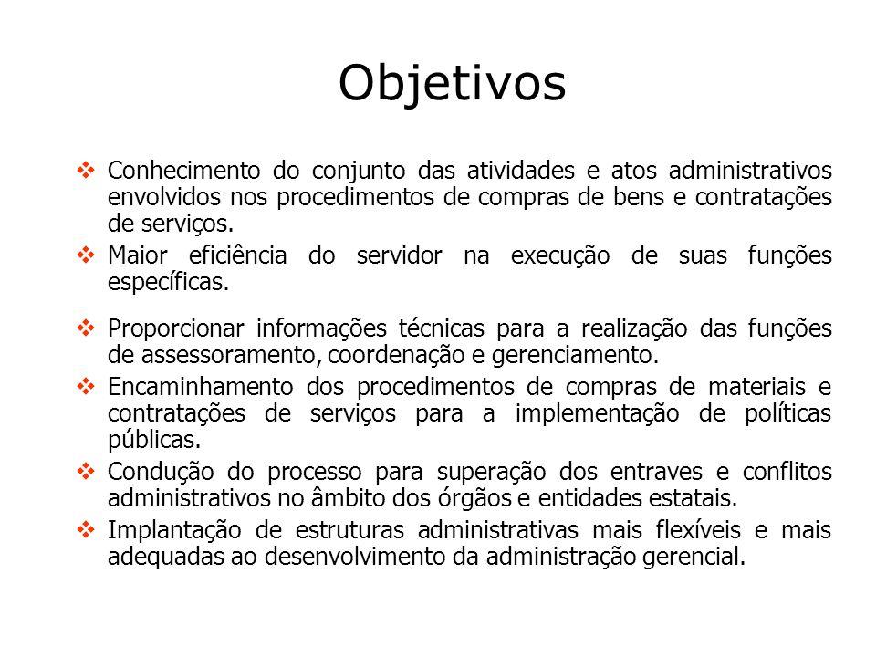 Objetivos Conhecimento do conjunto das atividades e atos administrativos envolvidos nos procedimentos de compras de bens e contratações de serviços. M