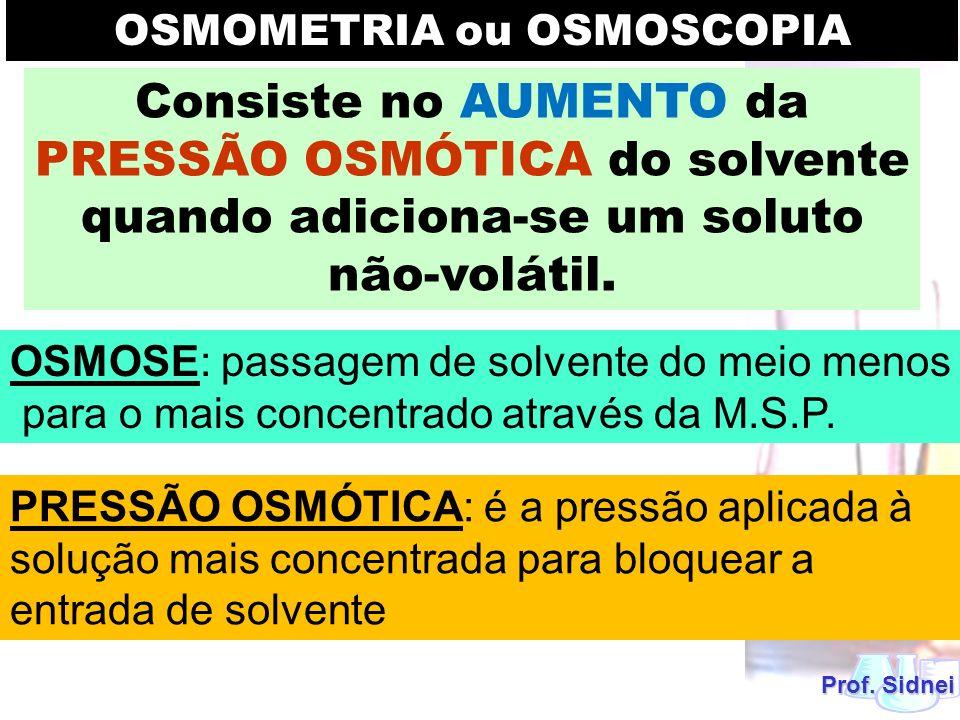 Prof. Sidnei Consiste no AUMENTO da PRESSÃO OSMÓTICA do solvente quando adiciona-se um soluto não-volátil. OSMOMETRIA ou OSMOSCOPIA OSMOSE: passagem d