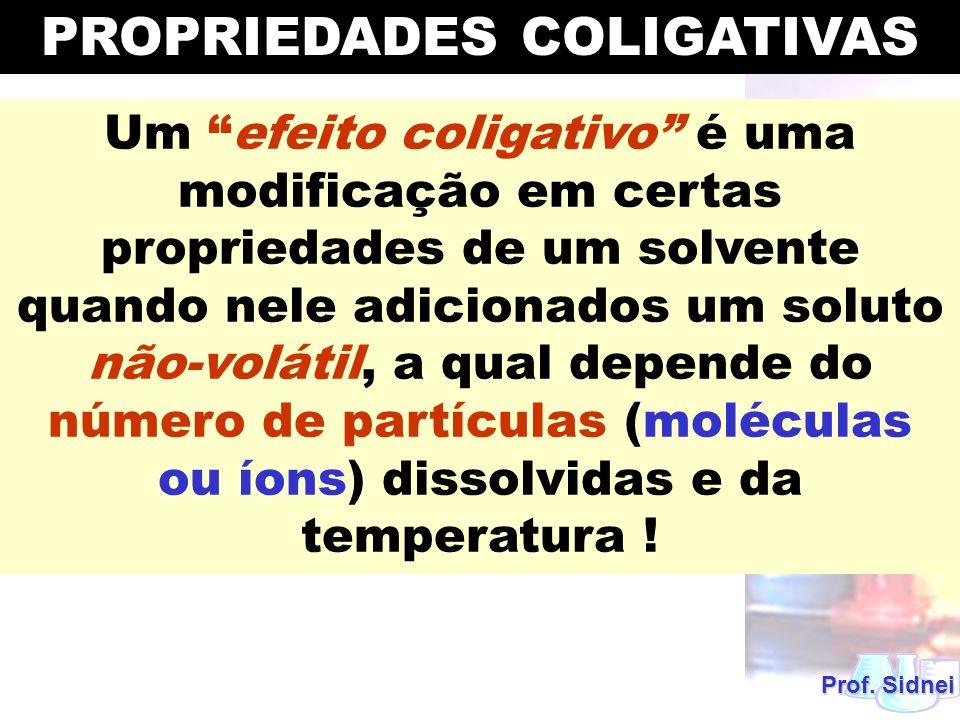 Um efeito coligativo é uma modificação em certas propriedades de um solvente quando nele adicionados um soluto não-volátil, a qual depende do número d