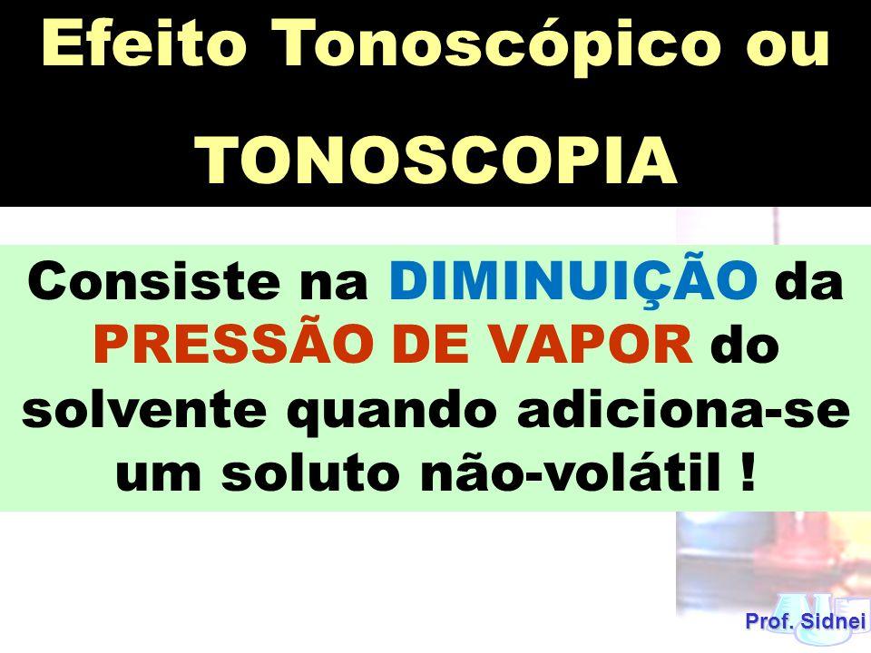 Prof. Sidnei Efeito Tonoscópico ou TONOSCOPIA Consiste na DIMINUIÇÃO da PRESSÃO DE VAPOR do solvente quando adiciona-se um soluto não-volátil !