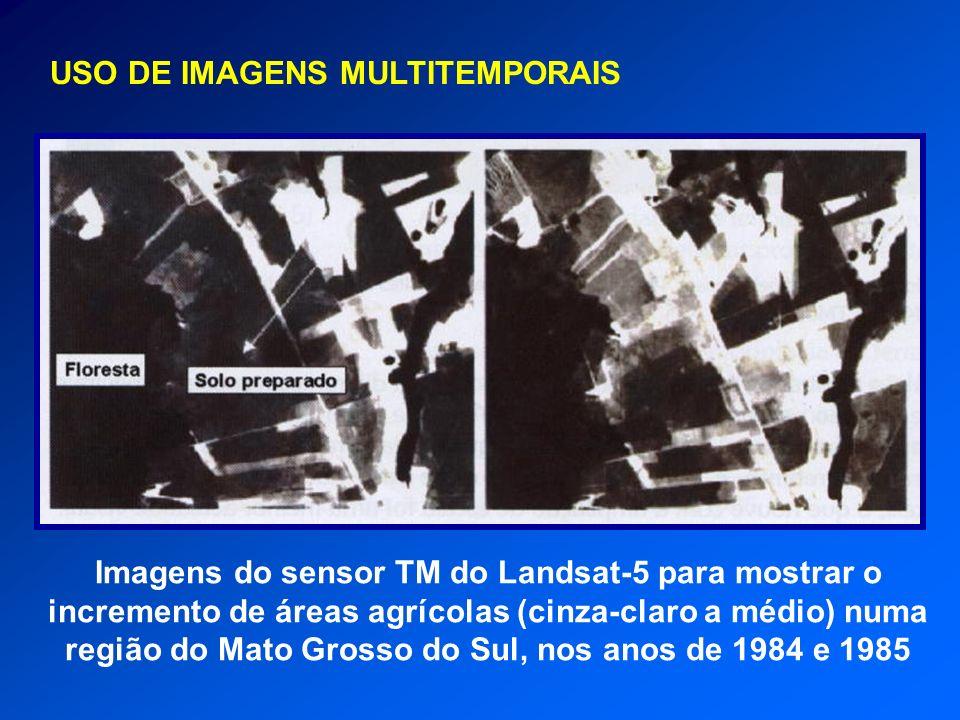 Imagens do sensor TM do Landsat-5 para mostrar o incremento de áreas agrícolas (cinza-claro a médio) numa região do Mato Grosso do Sul, nos anos de 19