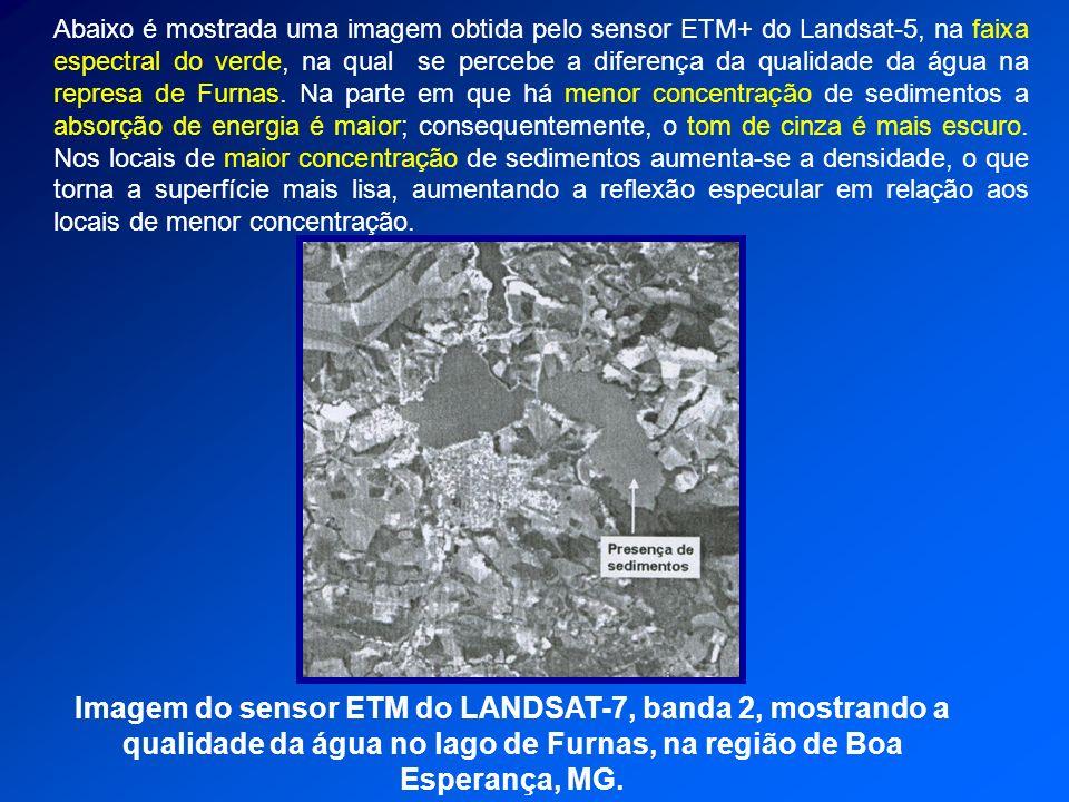 Imagem do sensor ETM do LANDSAT-7, banda 2, mostrando a qualidade da água no lago de Furnas, na região de Boa Esperança, MG. Abaixo é mostrada uma ima