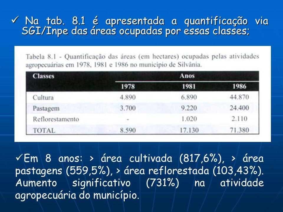 Na tab. 8.1 é apresentada a quantificação via SGI/Inpe das áreas ocupadas por essas classes; Na tab. 8.1 é apresentada a quantificação via SGI/Inpe da