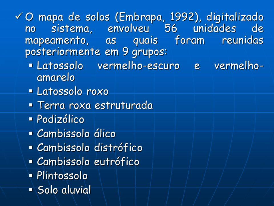 O mapa de solos (Embrapa, 1992), digitalizado no sistema, envolveu 56 unidades de mapeamento, as quais foram reunidas posteriormente em 9 grupos: O ma
