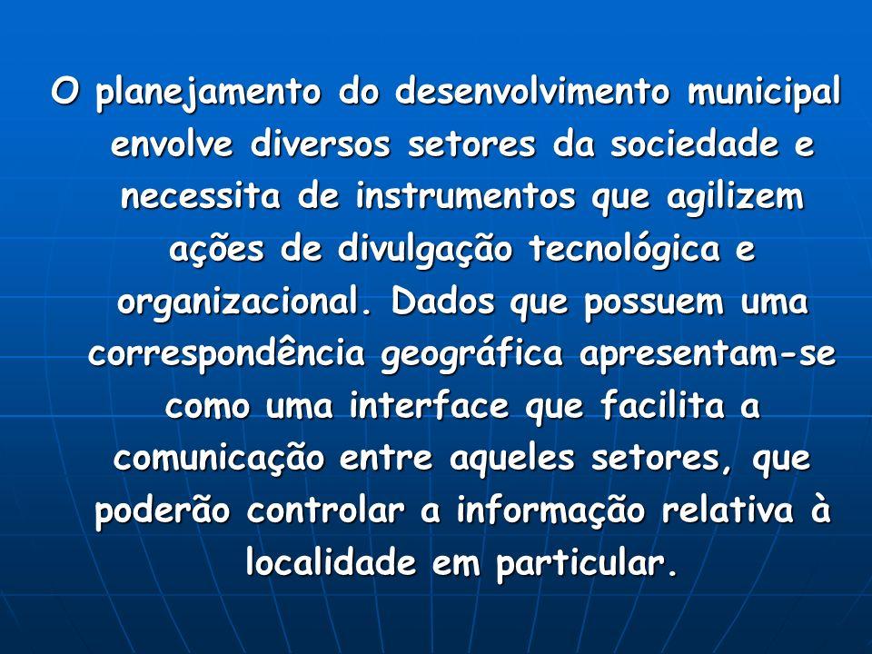 O planejamento do desenvolvimento municipal envolve diversos setores da sociedade e necessita de instrumentos que agilizem ações de divulgação tecnoló