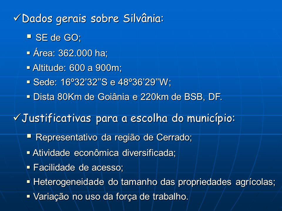 Dados gerais sobre Silvânia: Dados gerais sobre Silvânia: SE de GO; SE de GO; Área: 362.000 ha; Área: 362.000 ha; Altitude: 600 a 900m; Altitude: 600