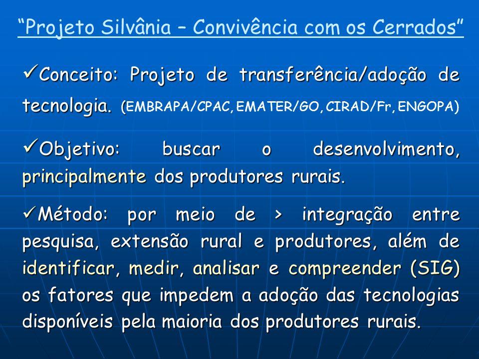 Conceito: Projeto de transferência/adoção de tecnologia. ( Conceito: Projeto de transferência/adoção de tecnologia. (EMBRAPA/CPAC, EMATER/GO, CIRAD/Fr