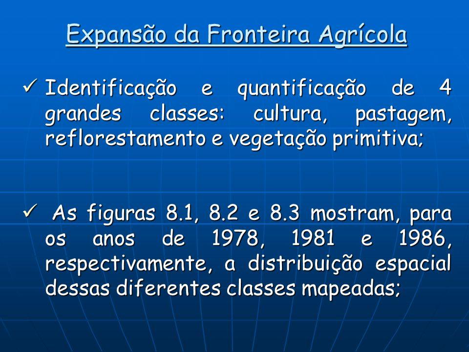 Expansão da Fronteira Agrícola Identificação e quantificação de 4 grandes classes: cultura, pastagem, reflorestamento e vegetação primitiva; Identific