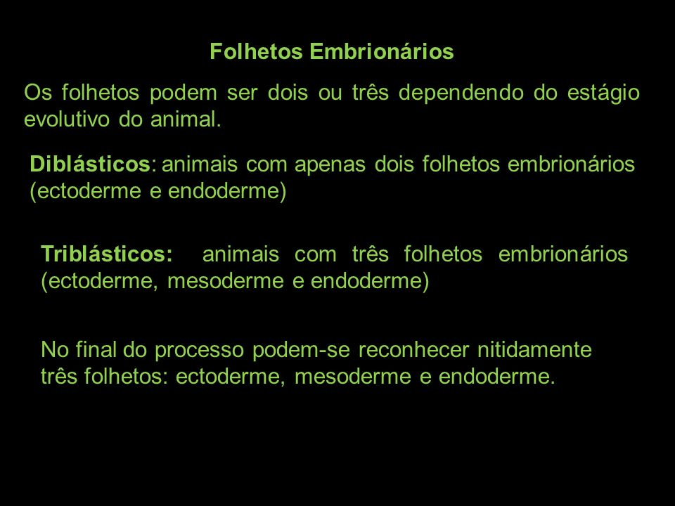 Folhetos Embrionários Os folhetos podem ser dois ou três dependendo do estágio evolutivo do animal. Diblásticos: animais com apenas dois folhetos embr