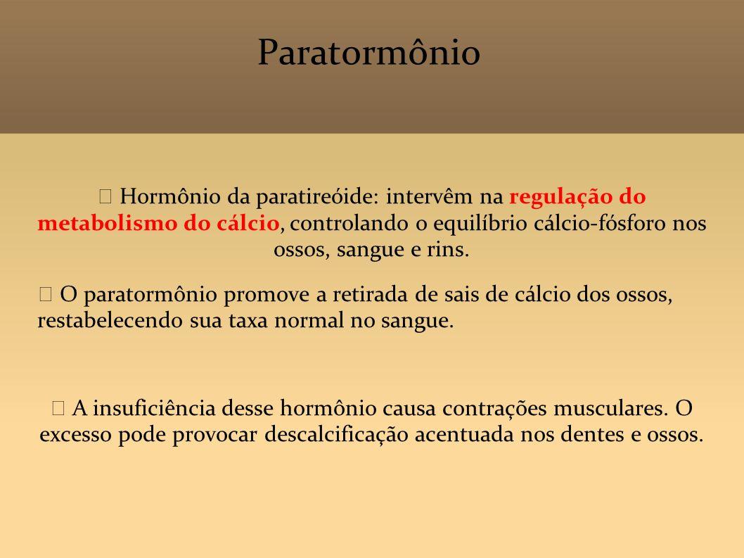 Paratormônio Hormônio da paratireóide: intervêm na regulação do metabolismo do cálcio, controlando o equilíbrio cálcio-fósforo nos ossos, sangue e rin