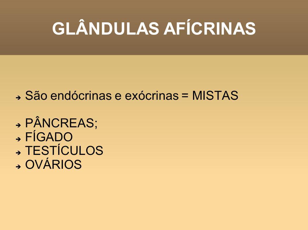 GLÂNDULAS AFÍCRINAS São endócrinas e exócrinas = MISTAS PÂNCREAS; FÍGADO TESTÍCULOS OVÁRIOS