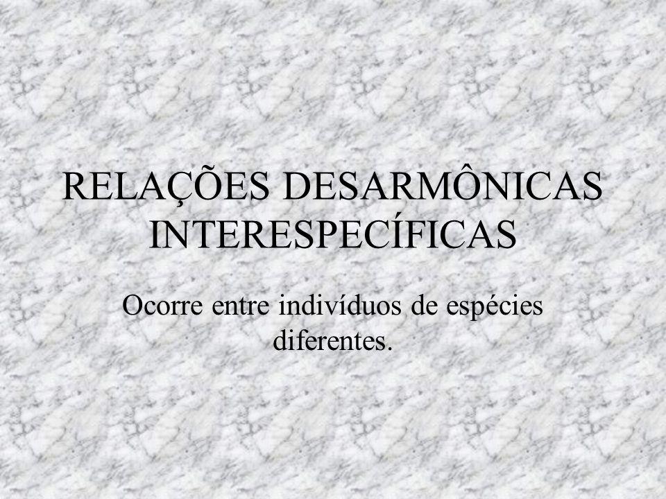 RELAÇÕES DESARMÔNICAS INTERESPECÍFICAS Ocorre entre indivíduos de espécies diferentes.