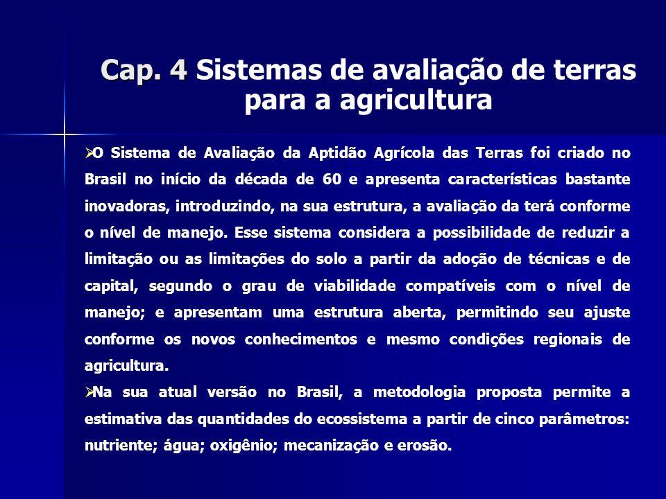 Cap. 4 Cap. 4 Sistemas de avaliação de terras para a agricultura O Sistema de Avaliação da Aptidão Agrícola das Terras foi criado no Brasil no início