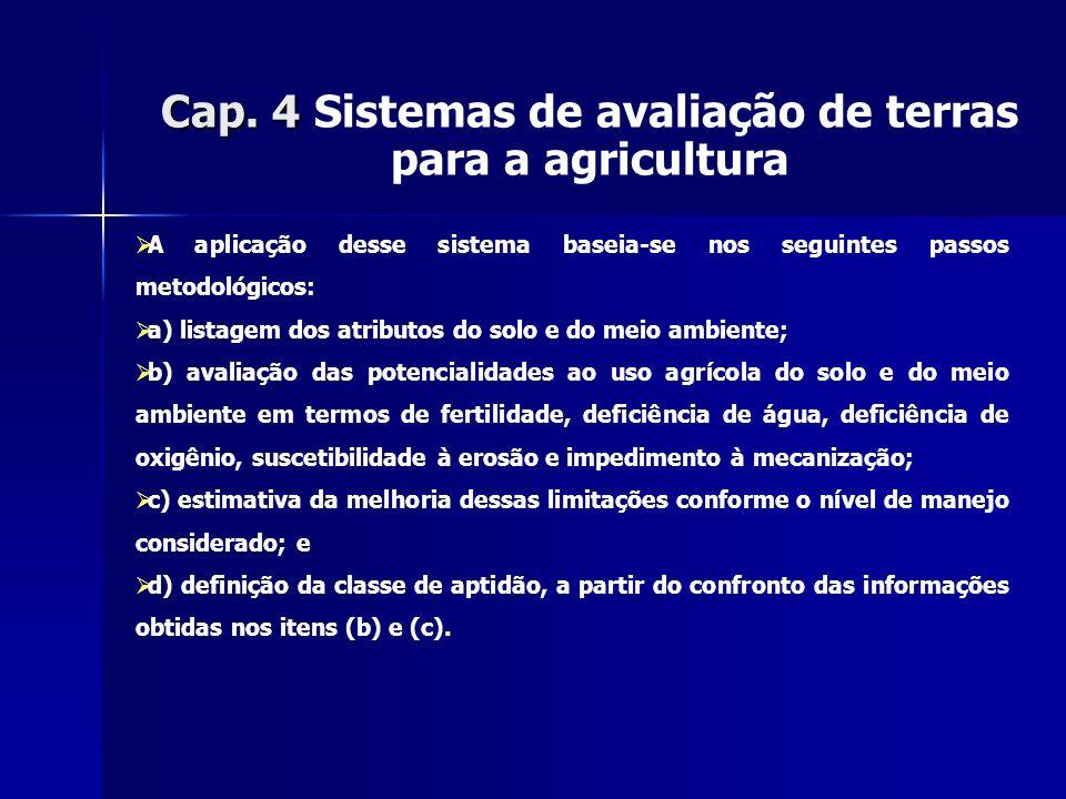 Cap. 4 Cap. 4 Sistemas de avaliação de terras para a agricultura A aplicação desse sistema baseia-se nos seguintes passos metodológicos: a) listagem d
