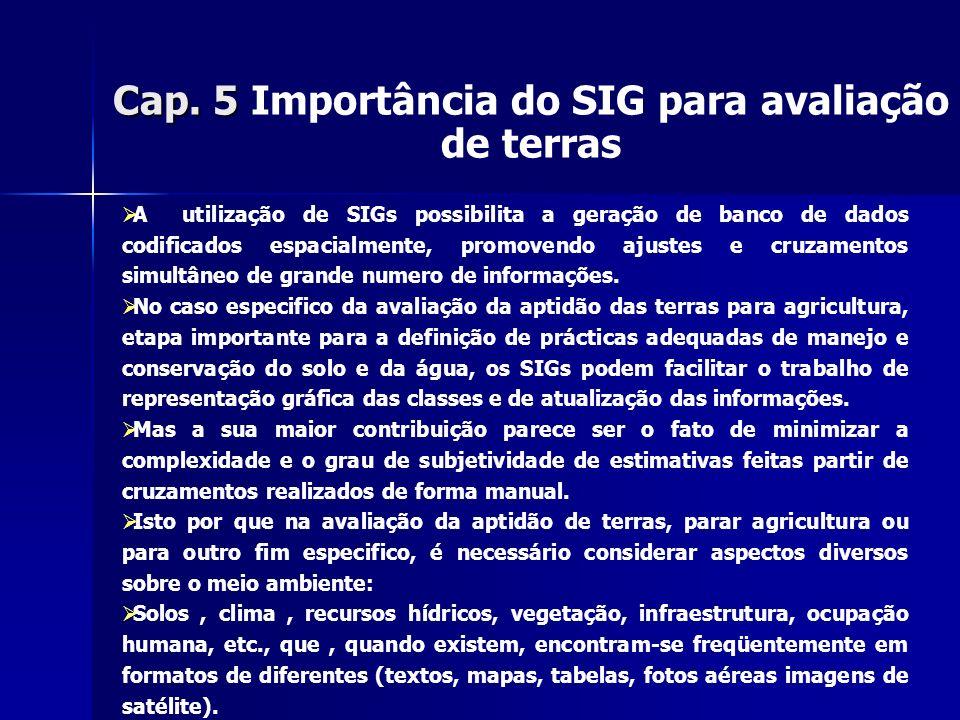 Cap. 5 Cap. 5 Importância do SIG para avaliação de terras A utilização de SIGs possibilita a geração de banco de dados codificados espacialmente, prom