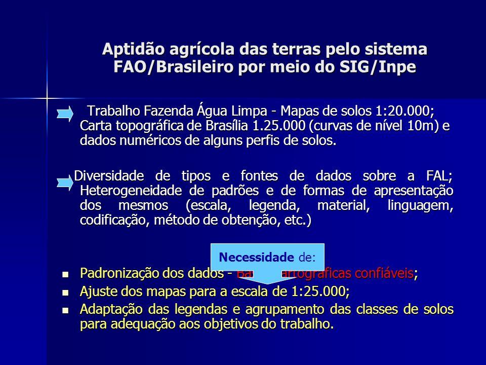 Aptidão agrícola das terras pelo sistema FAO/Brasileiro por meio do SIG/Inpe Trabalho Fazenda Água Limpa - Mapas de solos 1:20.000; Carta topográfica de Brasília 1.25.000 (curvas de nível 10m) e dados numéricos de alguns perfis de solos.