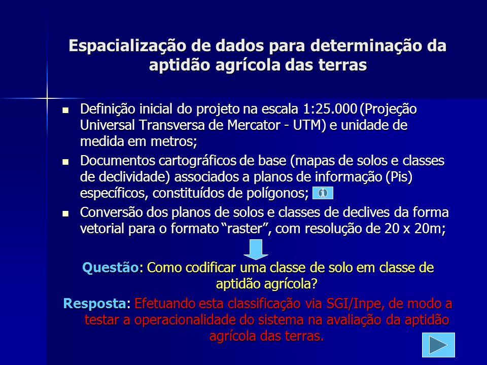 Espacialização de dados para determinação da aptidão agrícola das terras Definição inicial do projeto na escala 1:25.000 (Projeção Universal Transversa de Mercator - UTM) e unidade de medida em metros; Definição inicial do projeto na escala 1:25.000 (Projeção Universal Transversa de Mercator - UTM) e unidade de medida em metros; Documentos cartográficos de base (mapas de solos e classes de declividade) associados a planos de informação (Pis) específicos, constituídos de polígonos; Documentos cartográficos de base (mapas de solos e classes de declividade) associados a planos de informação (Pis) específicos, constituídos de polígonos; Conversão dos planos de solos e classes de declives da forma vetorial para o formato raster, com resolução de 20 x 20m; Conversão dos planos de solos e classes de declives da forma vetorial para o formato raster, com resolução de 20 x 20m; Questão: Como codificar uma classe de solo em classe de aptidão agrícola.