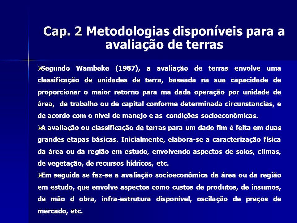 Cap. 2 Cap. 2 Metodologias disponíveis para a avaliação de terras Segundo Wambeke (1987), a avaliação de terras envolve uma classificação de unidades