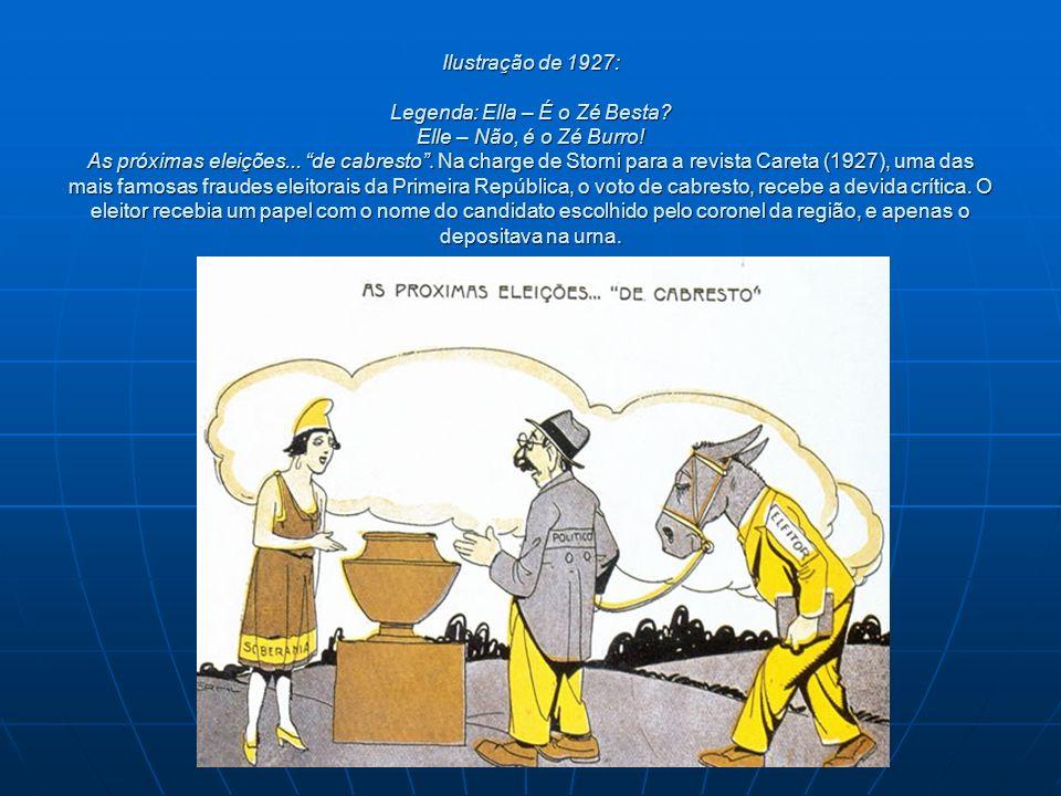 Ilustração de 1927: Legenda: Ella – É o Zé Besta? Elle – Não, é o Zé Burro! As próximas eleições... de cabresto. Na charge de Storni para a revista Ca