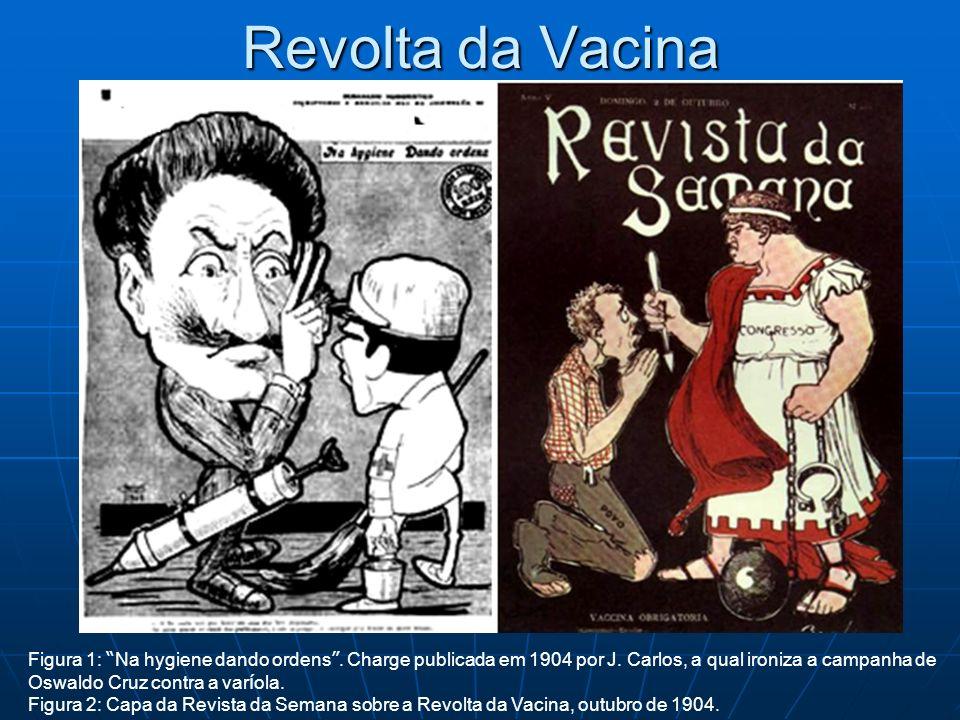 Revolta da Vacina Figura 1: Na hygiene dando ordens. Charge publicada em 1904 por J. Carlos, a qual ironiza a campanha de Oswaldo Cruz contra a var í