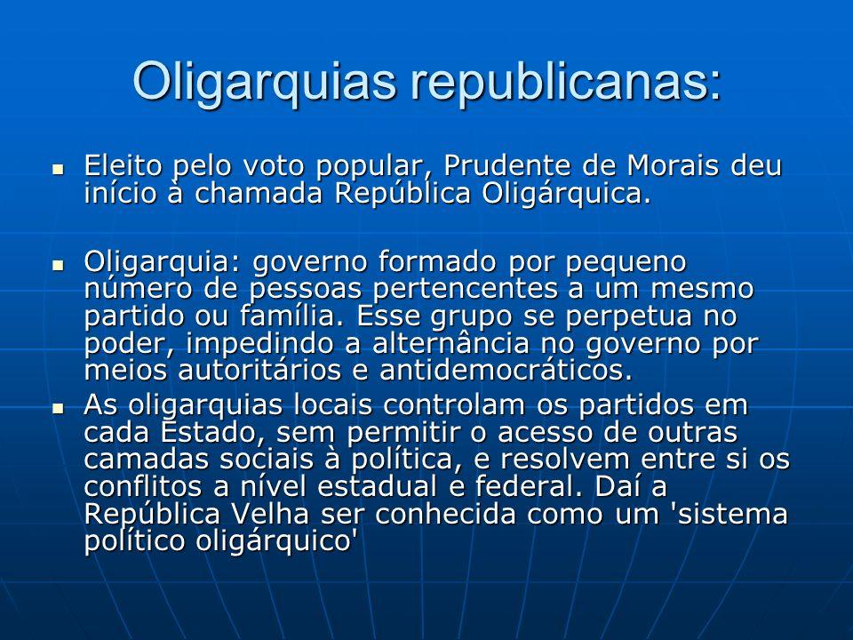 Oligarquias republicanas: Eleito pelo voto popular, Prudente de Morais deu início à chamada República Oligárquica. Eleito pelo voto popular, Prudente