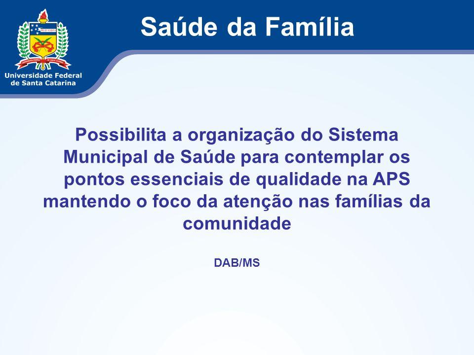 Possibilita a organização do Sistema Municipal de Saúde para contemplar os pontos essenciais de qualidade na APS mantendo o foco da atenção nas famíli