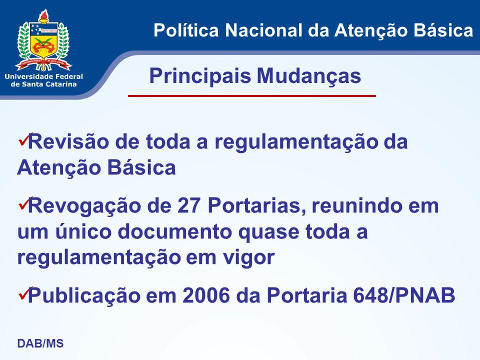 Revisão de toda a regulamentação da Atenção Básica Revogação de 27 Portarias, reunindo em um único documento quase toda a regulamentação em vigor Publ
