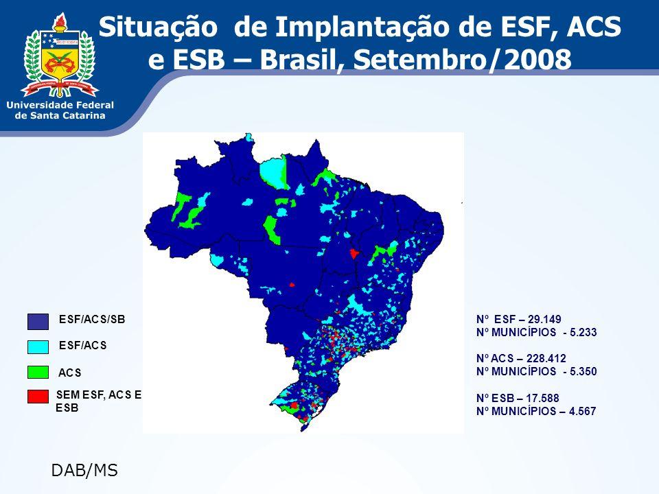 Situação de Implantação de ESF, ACS e ESB – Brasil, Setembro/2008 ACS SEM ESF, ACS E ESB ESF/ACS ESF/ACS/SB Nº ESF – 29.149 Nº MUNICÍPIOS - 5.233 Nº A