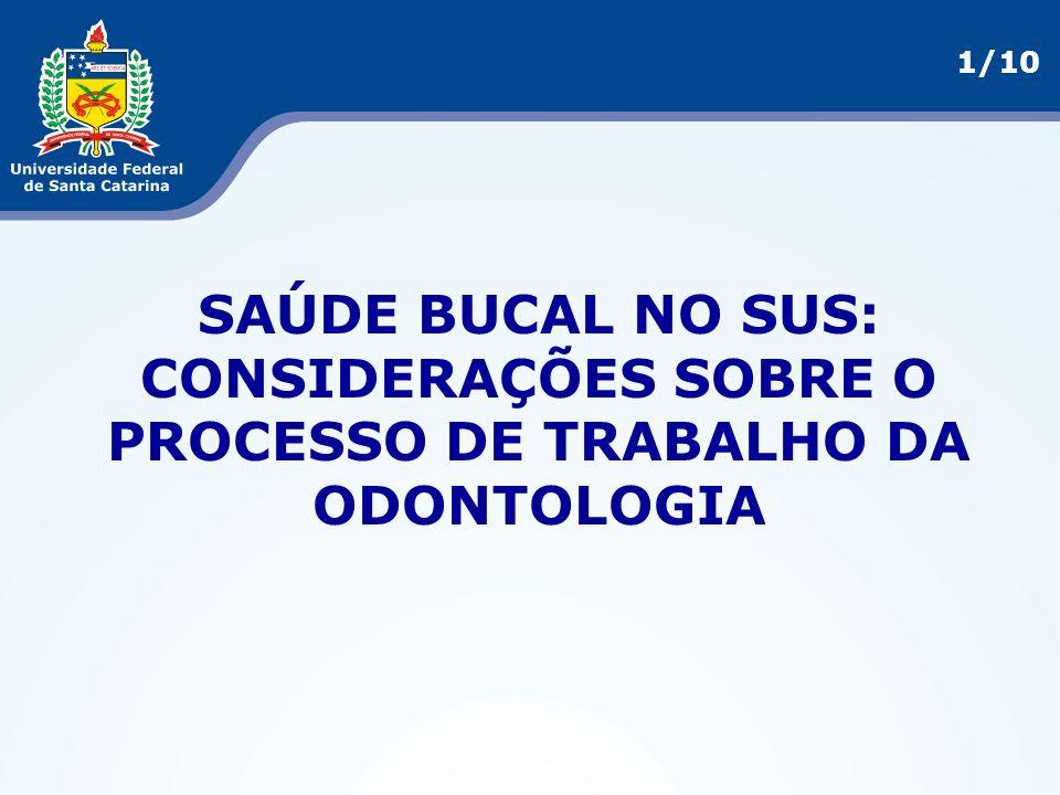 SAÚDE BUCAL NO SUS: CONSIDERAÇÕES SOBRE O PROCESSO DE TRABALHO DA ODONTOLOGIA 1/10