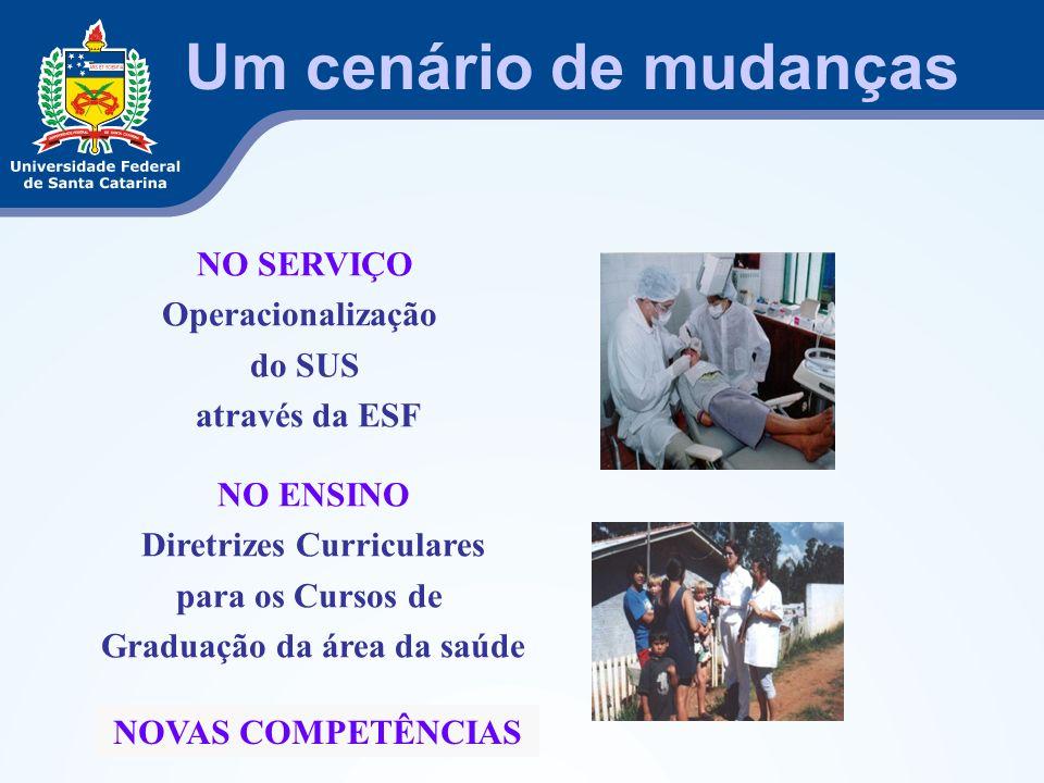 Um cenário de mudanças NO ENSINO Diretrizes Curriculares para os Cursos de Graduação da área da saúde NO SERVIÇO Operacionalização do SUS através da E